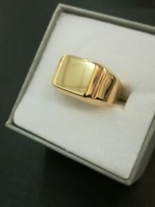 new men 9ct yellow gold solid plain square signet ring 8grs all sizes