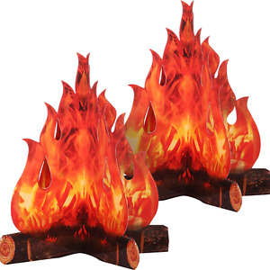 3D Decorative Cardboard Campfire Centerpiece Artificial Fire Fake Flame Paper 2