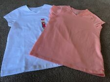 Faded Glory Girls Xl Vneck Shirts.  Peach And White