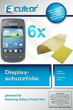 6x Samsung Galaxy Pocket Neo Protector de Pantalla transparente