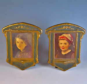 Arts and Crafts portraits plaques of Hansel and Gretel after Ferdinand Shauss