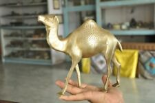 1930's Old Brass Handcrafted Solid Inlay Engraved Camel Figurine , Rich Patina