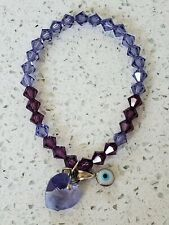 All Seeing Eye Heart Swarovski Crystal Bead Stretch Bracelet Purple Violet