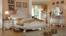 Formal Traditional Antique White 4P Bedroom Set Queen Size Bed Real Marble
