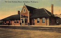 Postcard The Great Northern Railroad Depot in Bellingham, Washington~109973