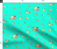 Tiny Bouquets On Turquoise Flower Floral Fabric Printed by Spoonflower BTY