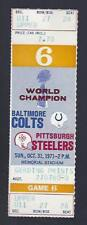 1971 NFL PITTSBURGH STEELERS @ BALTIMORE COLTS FULL UNUSED FOOTBALL TICKET