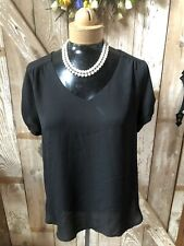 Lily White Black Top Blouse Size Large