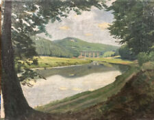 Vintage German Painting Autobahn Bridge And River Post Impressionist 1930s