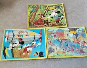 Lot of 3 Vintage Walt Disney Mickey  Mouse  Character Picture Puzzles