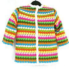 Vintage crochet cardigan sweater M pink yellow orange acrylic 3/4 sleeves Japan