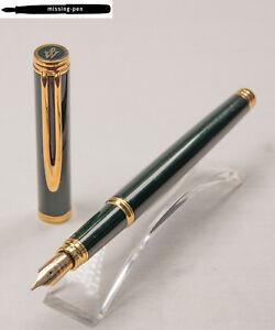 Waterman Gentleman Cartridges Fountain Pen in Dark Green-Gold with 18 C. M-nib