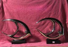 Art Deco Style Fish Sculpture Pair - Chrome