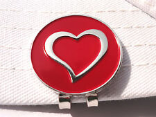 Chrome Heart Golf Ball Marker w/Magnetic Hat Clip and Red Background