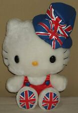 "Hello Kitty Union Jack Hat 9.1"" 23cm Plush Dolls Sanrio 2012 NWT Rare"