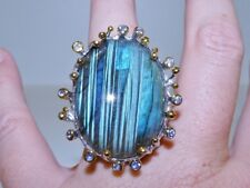 GENUINE! RARE 51.93tcw Tanzanite & Labradorite Ring Solid Sterling Silver 925!