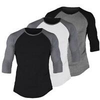 US Fashion Men's 3/4 Sleeve Slim Fit Shirt Baseball Casual Sport T-Shirt Tee Top