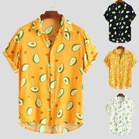 Summer Mens Funny Print Turn Down Collar Short Sleeve Casual Shirt Blouse Top US