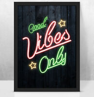 Personalised GOOD VIBES ONLY Custom worded NEON SIGN art print, Any words/names