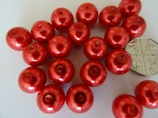 20pcs 10mm round imitation faux red pearl glass beads jewellery making findings