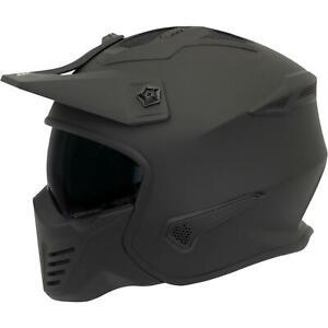 Spada Storm Open Face Motorcycle Motorbike Helmet Matt Black Inner Sun Visor