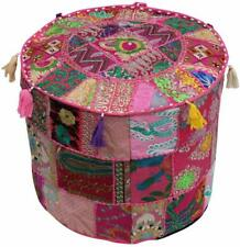 "Round Indian Handmade Cotton Pouf Cover 18 x 14"" Stool Ethnic Ottoman Patchwork"