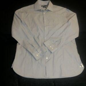 John Varvatos USA Men's Striped Slim Fit Dress Shirt Spread collar Size 16.5
