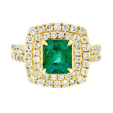 18K Gold 2.72ctw GIA Fine Emerald & Double Halo Diamond Statement Cocktail Ring