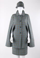 Vtg Pendleton c.1960's - 1970's 3 Pc Plaid Cape Coat Pencil Skirt Bucket Hat Set