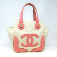 Chanel Handbag Pink & Ivory Vintage Marshmallow Canvas CC Tote Gold Hardware