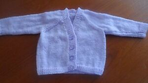 Hand knitted v neck cardigan baby girl premature - 6-12months choice of colours