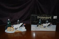 """VICTORIAN VILLAGE COLLECTIBLES 2001 EDITION """"CHILDERN PLAYING WITH SNOW BEAR"""""""