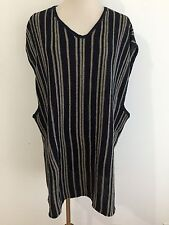 Guess Classics Linen Blend Sleeveless Tunic Sweater Navy & Taupe Stripes Size L