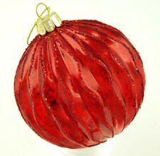 Bright Red Mercury Glass Ball Glitter Edged Bauble Christmas Ornament R1