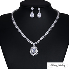 18K White Gold Filled Cubic Zirconia Necklace & Earrings Wedding Set Jewellery