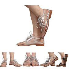 damen smart niedrig absatz flache schnürschuhe brogue loafer shoes size 3-8
