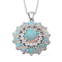 """925 Sterling Silver Platinum Over Opal Pendant Necklace Jewelry Size 18"""" Ct 5.1"""