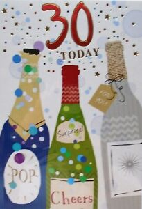 """Fun Modern Alcohol Bottle Gifts  """"AGE 30"""" Birthday Card"""