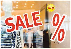 Ankleber SALE und % Zeichen Deko Werbung Aufkleber Schild Plakate Preisschild