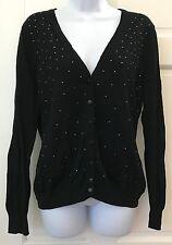 Merona Womens Black Button Down Cardigan SZ XXL V Neck Silver Studded Stretchy