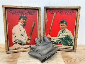 Antique Rustic Cracker Jack Ty Cobb Joe Jackson Wood Signs 12x16 ! WOW !!
