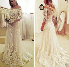 2017 White/Ivory Lace Wedding Dress Bridal Gown Custom Size 4 6 8 10 12 14 16 ++
