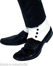 hombre adulto Gánster Bugsy Malone Gran Gatsby Blanco y Negro Disfraz polainas