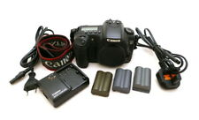 Canon EOS 20D DSLR camera body with cap, strap, charger, 3x batteries