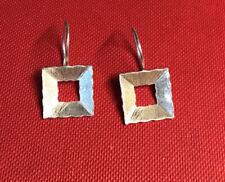 Vintage 925 Silver Modernist Square Fish Hook Earrings