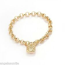 18K Yellow Gold Filled Filigree Padlock Belcher Bracelet (B-279)