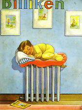 Lino Palacio Billiken Art Cover 1946 BOY SLEEPING RADIATOR Spanish Matted Print