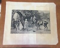 """Antique Late 1800's HEYWOOD HARDY Art Print  """"TOO LATE"""" """"From Original"""" Horses"""