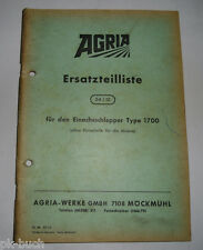 Piezas de recambio lista 54/12 agria motocultivadores Type 1700 stand 03/1969