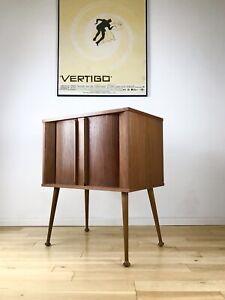 Mid Century Record Cabinet LP Vinyl 50s 60s Stunning Teak Veneer, Tambour Doors
